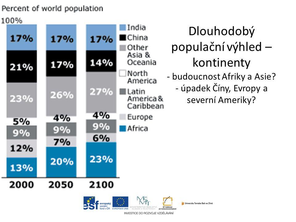 Dlouhodobý populační výhled – kontinenty - budoucnost Afriky a Asie.