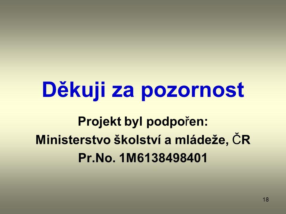 18 Děkuji za pozornost Projekt byl podpořen: Ministerstvo školství a mládeže, ČR Pr.No.