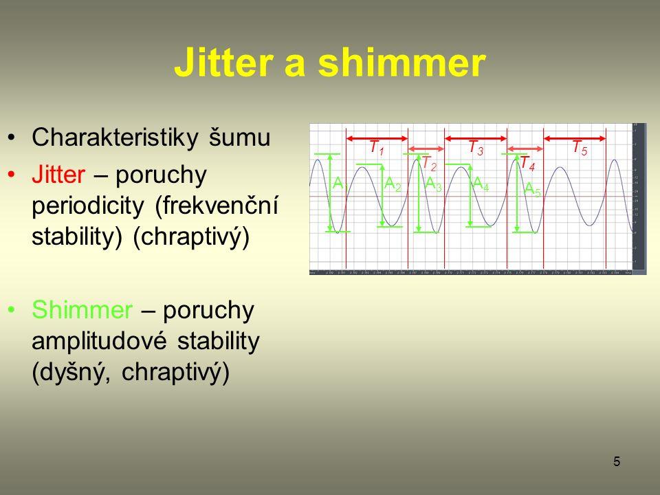 5 Jitter a shimmer Charakteristiky šumu Jitter – poruchy periodicity (frekvenční stability) (chraptivý) Shimmer – poruchy amplitudové stability (dyšný, chraptivý) T1T1 T3T3 T5T5 T2T2 T4T4 A1A1 A2A2 A3A3 A5A5 A4A4