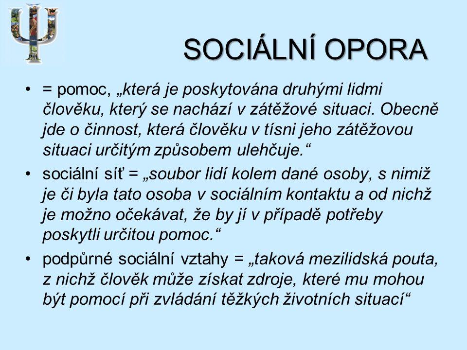 """SOCIÁLNÍ OPORA = pomoc, """"která je poskytována druhými lidmi člověku, který se nachází v zátěžové situaci."""