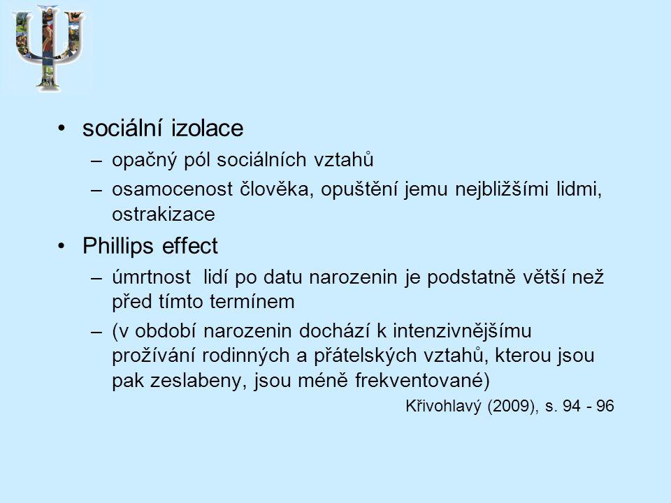 sociální izolace –opačný pól sociálních vztahů –osamocenost člověka, opuštění jemu nejbližšími lidmi, ostrakizace Phillips effect –úmrtnost lidí po datu narozenin je podstatně větší než před tímto termínem –(v období narozenin dochází k intenzivnějšímu prožívání rodinných a přátelských vztahů, kterou jsou pak zeslabeny, jsou méně frekventované) Křivohlavý (2009), s.