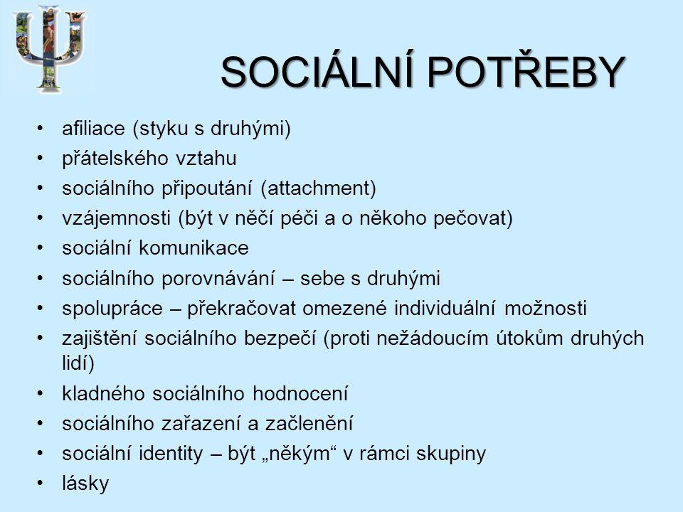 """SOCIÁLNÍ POTŘEBY afiliace (styku s druhými) přátelského vztahu sociálního připoutání (attachment) vzájemnosti (být v něčí péči a o někoho pečovat) sociální komunikace sociálního porovnávání – sebe s druhými spolupráce – překračovat omezené individuální možnosti zajištění sociálního bezpečí (proti nežádoucím útokům druhých lidí) kladného sociálního hodnocení sociálního zařazení a začlenění sociální identity – být """"někým v rámci skupiny lásky"""