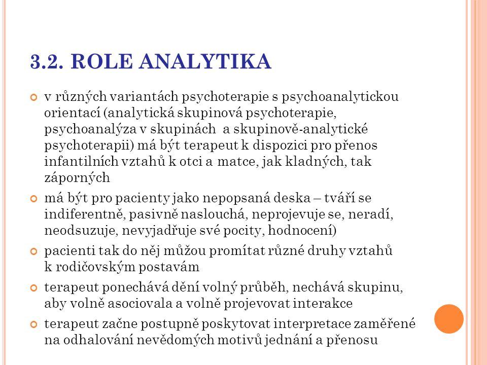 3.2. ROLE ANALYTIKA v různých variantách psychoterapie s psychoanalytickou orientací (analytická skupinová psychoterapie, psychoanalýza v skupinách a