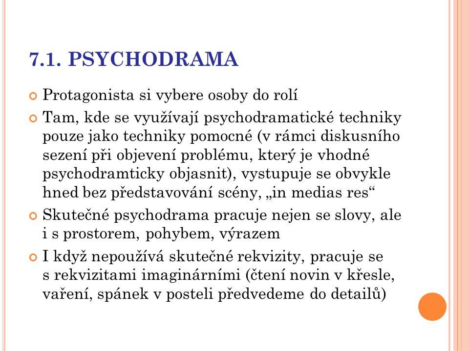 7.1. PSYCHODRAMA Protagonista si vybere osoby do rolí Tam, kde se využívají psychodramatické techniky pouze jako techniky pomocné (v rámci diskusního