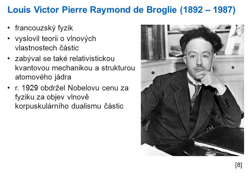 Louis Victor Pierre Raymond de Broglie (1892 – 1987) [8] francouzský fyzik vyslovil teorii o vlnových vlastnostech částic zabýval se také relativistic