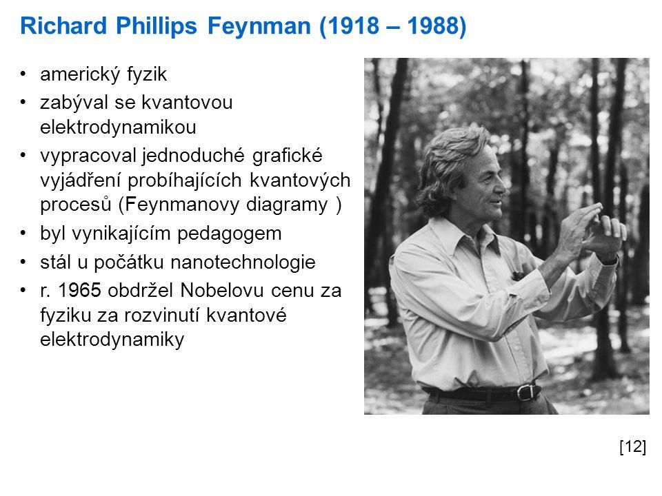 Richard Phillips Feynman (1918 – 1988) [12] americký fyzik zabýval se kvantovou elektrodynamikou vypracoval jednoduché grafické vyjádření probíhajícíc