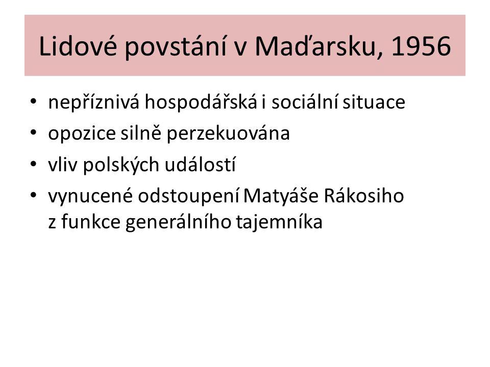 Lidové povstání v Maďarsku, 1956 nepříznivá hospodářská i sociální situace opozice silně perzekuována vliv polských událostí vynucené odstoupení Matyá