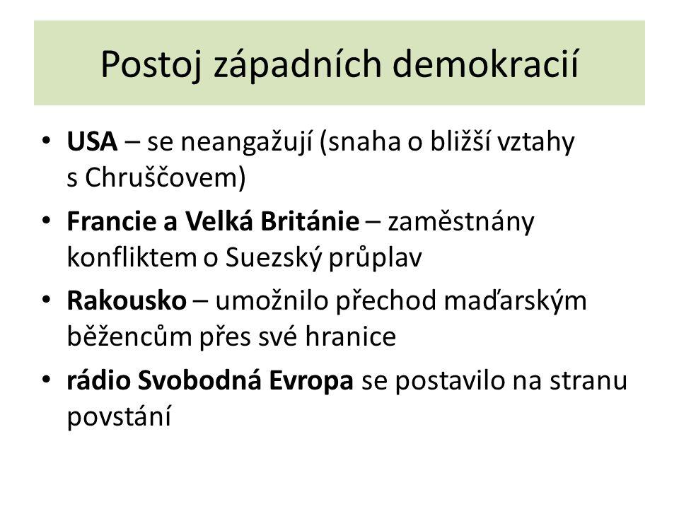 Postoj západních demokracií USA – se neangažují (snaha o bližší vztahy s Chruščovem) Francie a Velká Británie – zaměstnány konfliktem o Suezský průplav Rakousko – umožnilo přechod maďarským běžencům přes své hranice rádio Svobodná Evropa se postavilo na stranu povstání