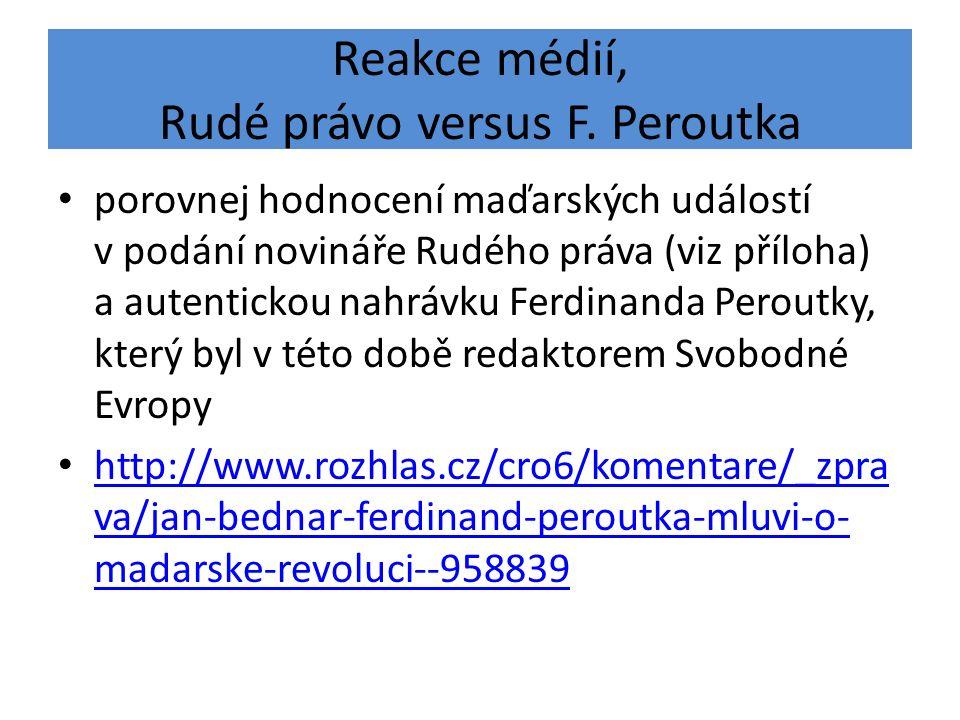 Reakce médií, Rudé právo versus F. Peroutka porovnej hodnocení maďarských událostí v podání novináře Rudého práva (viz příloha) a autentickou nahrávku