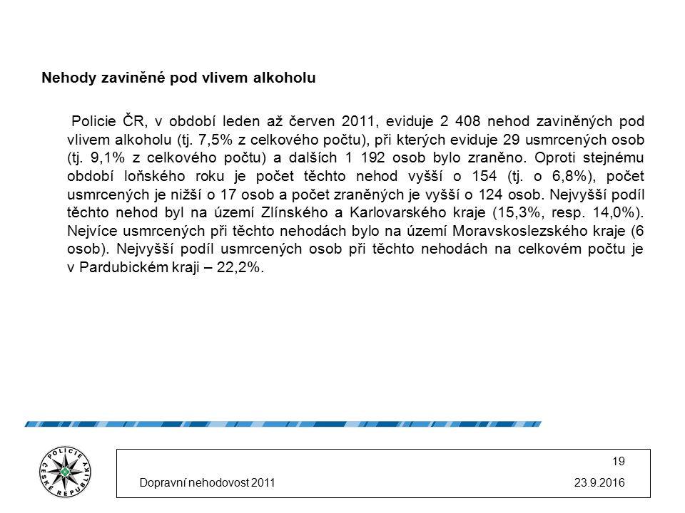 Nehody zaviněné pod vlivem alkoholu Policie ČR, v období leden až červen 2011, eviduje 2 408 nehod zaviněných pod vlivem alkoholu (tj. 7,5% z celkovéh