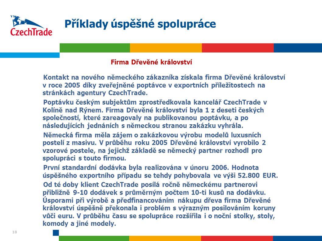 18 Příklady úspěšné spolupráce Firma Dřevěné království Kontakt na nového německého zákazníka získala firma Dřevěné království v roce 2005 díky zveřejněné poptávce v exportních příležitostech na stránkách agentury CzechTrade.