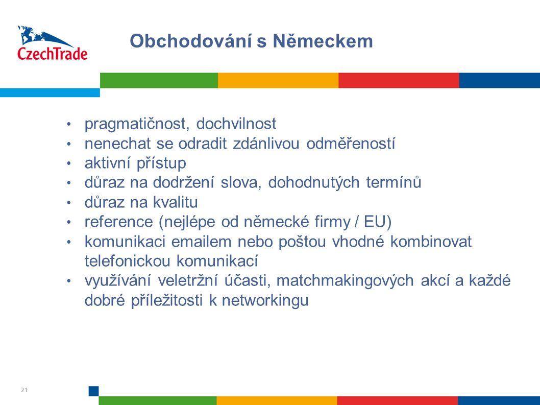 21 pragmatičnost, dochvilnost nenechat se odradit zdánlivou odměřeností aktivní přístup důraz na dodržení slova, dohodnutých termínů důraz na kvalitu reference (nejlépe od německé firmy / EU) komunikaci emailem nebo poštou vhodné kombinovat telefonickou komunikací využívání veletržní účasti, matchmakingových akcí a každé dobré příležitosti k networkingu Obchodování s Německem