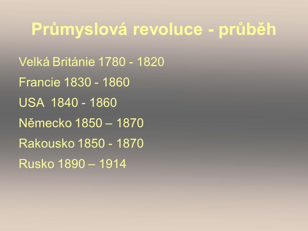 Průmyslová revoluce - průběh Velká Británie 1780 - 1820 Francie 1830 - 1860 USA 1840 - 1860 Německo 1850 – 1870 Rakousko 1850 - 1870 Rusko 1890 – 1914