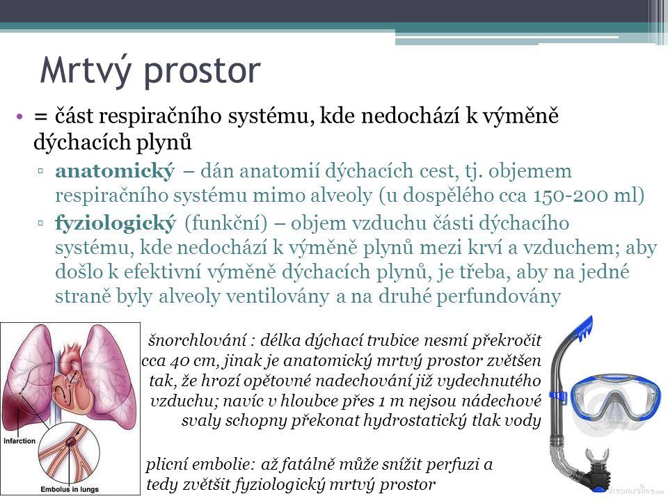 Mrtvý prostor = část respiračního systému, kde nedochází k výměně dýchacích plynů ▫anatomický – dán anatomií dýchacích cest, tj.