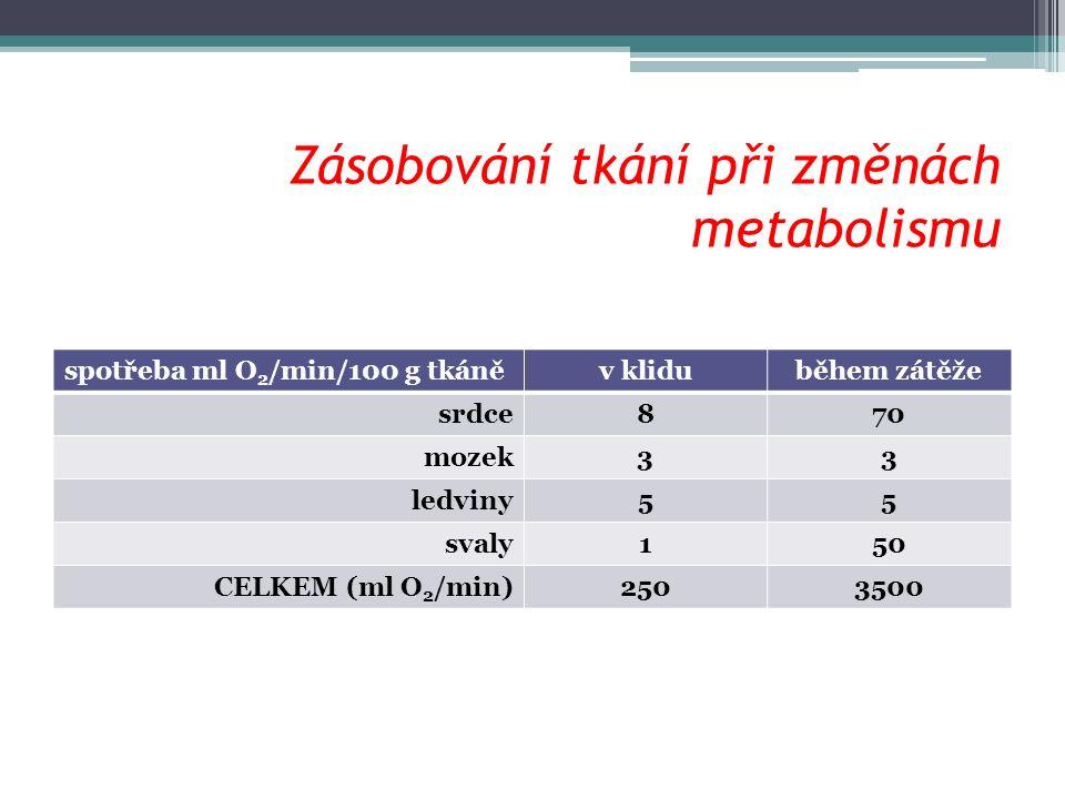 Zásobování tkání při změnách metabolismu spotřeba ml O 2 /min/100 g tkáněv kliduběhem zátěže srdce870 mozek33 ledviny55 svaly150 CELKEM (ml O 2 /min)2503500
