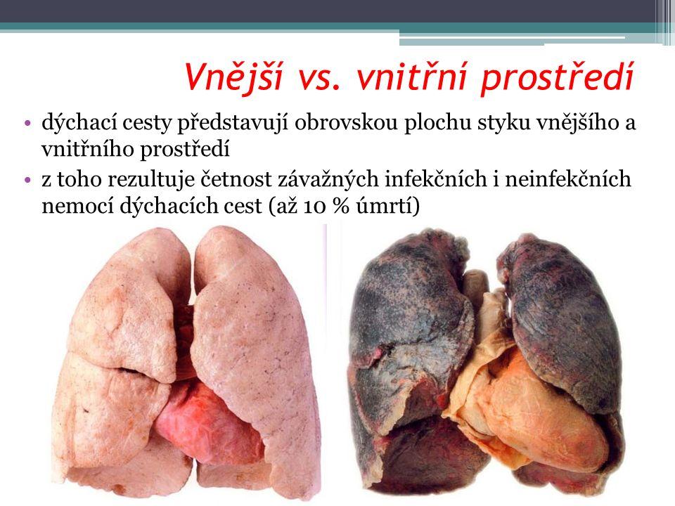 Základní funkce dýchacího systému pro zachování své integrity potřebuje organismus trvalý přísun energie, kterou získává biologickou oxidací pomocí O 2 základní funkce dýchacího systému – okysličování krve a odvod CO 2 souhra několika dějů: ▫ventilace – výměna vzduchu mezi plícemi a zevním prostředím ▫distribuce – vedení vzduchu dýchacími cestami až k alveolům ▫perfuze – krevní průtok plícemi ▫difuze – přenos O 2 a CO 2 přes alveolární membránu ▫[transport dýchacích plynů krví] ▫[respirace – buněčné (vnitřní) dýchání]