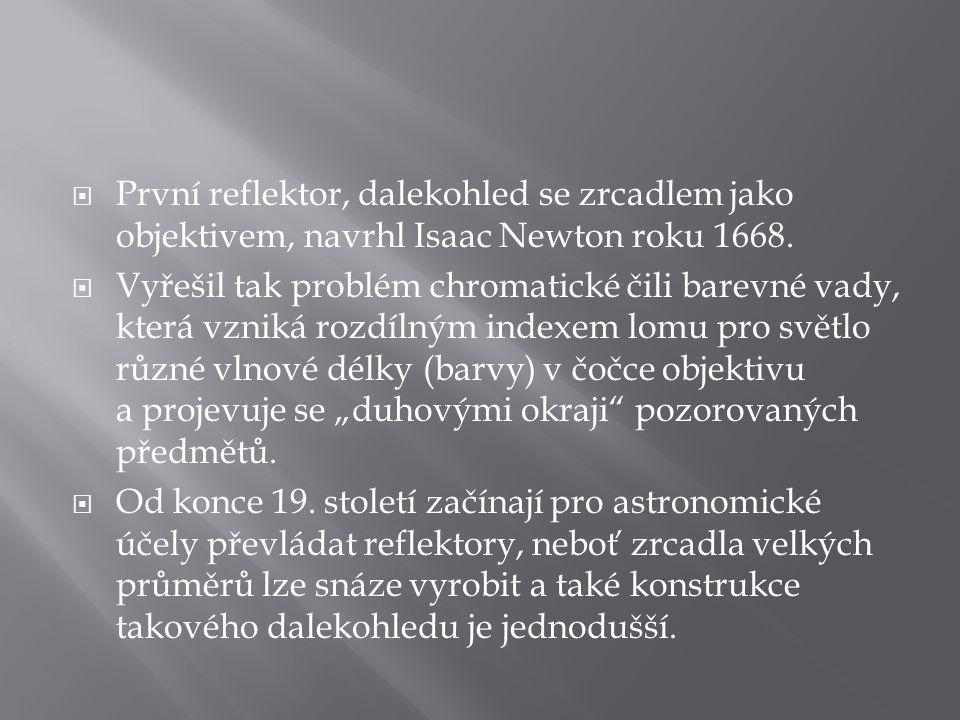  První reflektor, dalekohled se zrcadlem jako objektivem, navrhl Isaac Newton roku 1668.