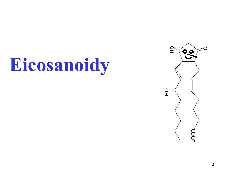 3 Skupina derivátů odvozených od polynenasycených MK s 20 uhlíky (řecky eikosi = dvacet) Působí jako lokální hormony, poločas existence 1-2 min Biosynteticky odvozeny především od: Arachidonová kyselina (eikosatetraenová) 20:4 (5,8,11,14) řada n-6 Eikosapentaenová kyselina (EPE) 20:5 (5,8,11,14,17) řada n-3 COOH