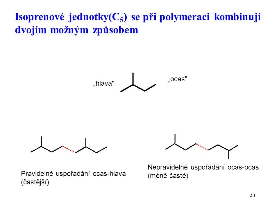 """23 Isoprenové jednotky(C 5 ) se při polymeraci kombinují dvojím možným způsobem 23 Pravidelné uspořádání ocas-hlava (častější) Nepravidelné uspořádání ocas-ocas (méně časté) """"hlava """"ocas"""