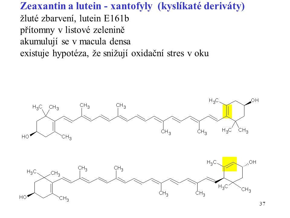 37 Zeaxantin a lutein - xantofyly (kyslíkaté deriváty) žluté zbarvení, lutein E161b přítomny v listové zelenině akumulují se v macula densa existuje hypotéza, že snižují oxidační stres v oku