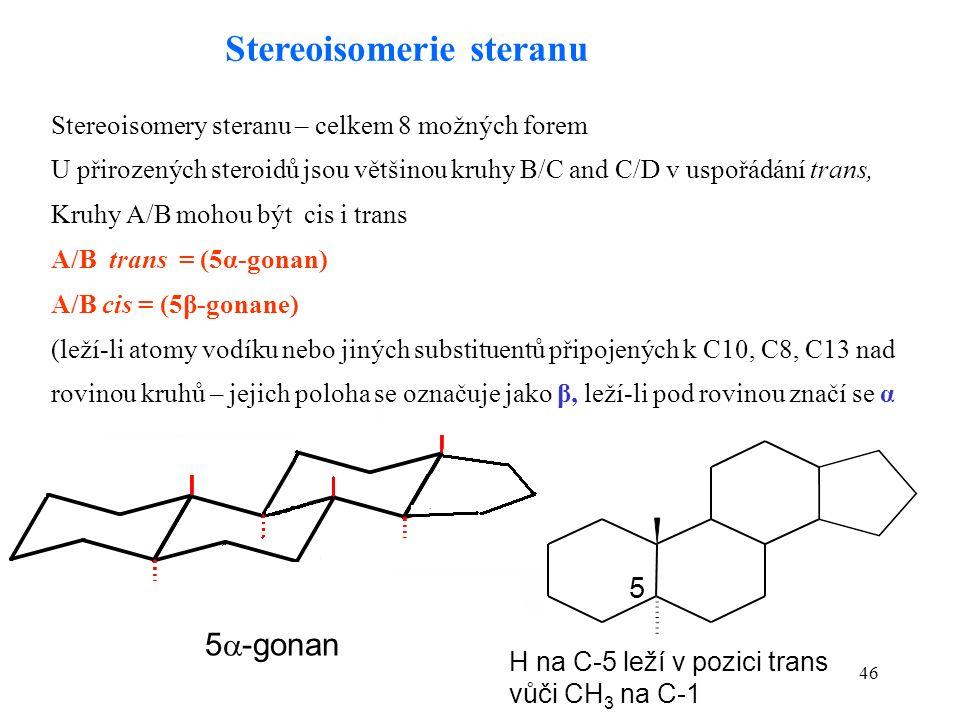 46 5  -gonan Stereoisomery steranu – celkem 8 možných forem U přirozených steroidů jsou většinou kruhy B/C and C/D v uspořádání trans, Kruhy A/B mohou být cis i trans A/B trans = (5α-gonan) A/B cis = (5β-gonane) (leží-li atomy vodíku nebo jiných substituentů připojených k C10, C8, C13 nad rovinou kruhů – jejich poloha se označuje jako β, leží-li pod rovinou značí se α Stereoisomerie steranu 5 H na C-5 leží v pozici trans vůči CH 3 na C-1