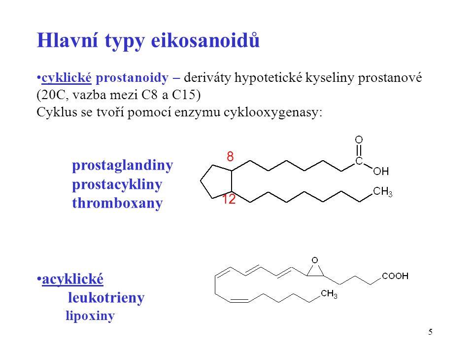 6 Prostaglandiny (PG) Syntetizovány téměř ve všech typech buněk, Poprvé izolovány z buněk prostaty.