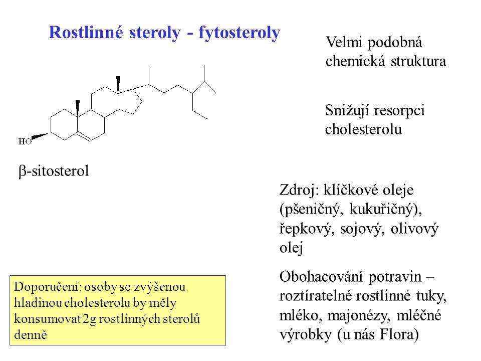 81 Rostlinné steroly - fytosteroly Velmi podobná chemická struktura  -sitosterol Snižují resorpci cholesterolu Zdroj: klíčkové oleje (pšeničný, kukuřičný), řepkový, sojový, olivový olej Obohacování potravin – roztíratelné rostlinné tuky, mléko, majonézy, mléčné výrobky (u nás Flora) Doporučení: osoby se zvýšenou hladinou cholesterolu by měly konsumovat 2g rostlinných sterolů denně
