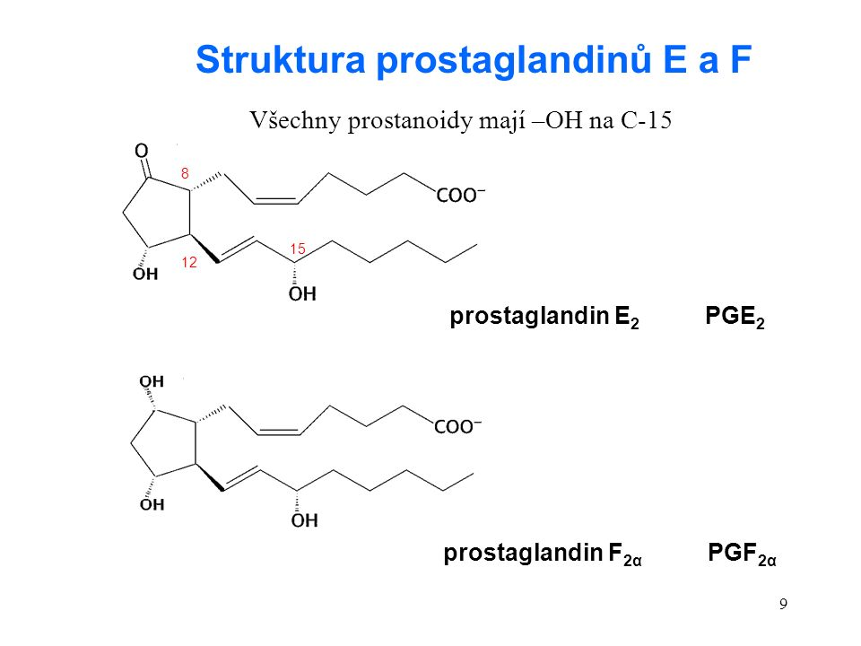 9 prostaglandin E 2 PGE 2 prostaglandin F 2α PGF 2α Struktura prostaglandinů E a F Všechny prostanoidy mají –OH na C-15 8 12 15