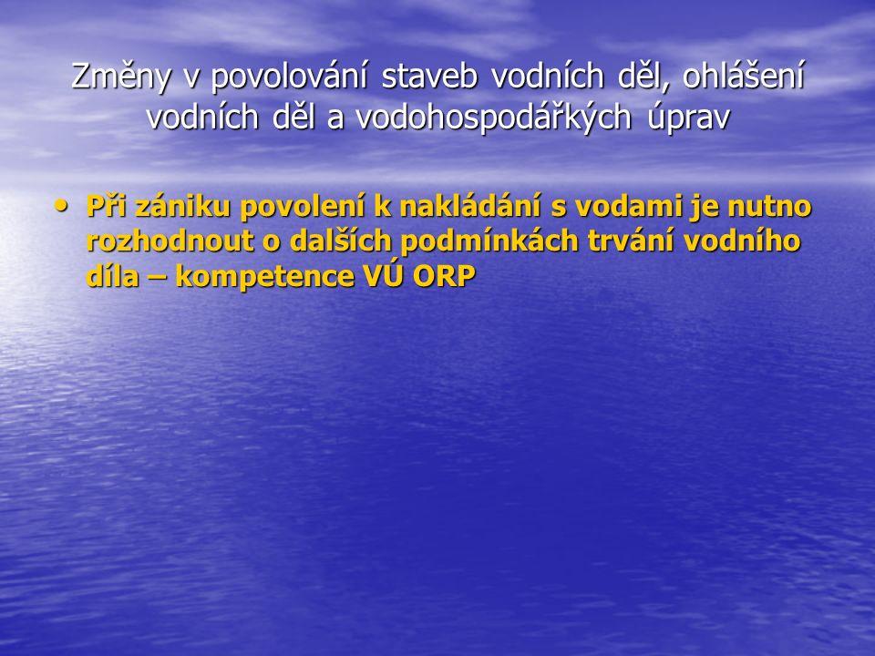 Vypouštění odpadních vod do vod podzemních Řešeno vodním zákonem § 8 odst.