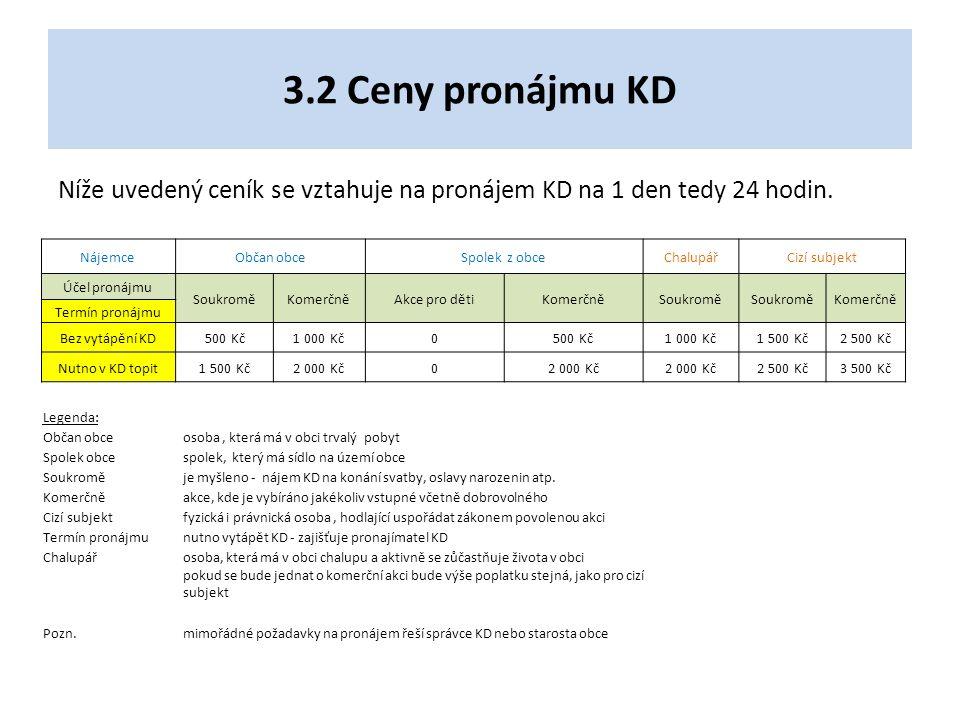 3.2 Ceny pronájmu KD Níže uvedený ceník se vztahuje na pronájem KD na 1 den tedy 24 hodin.