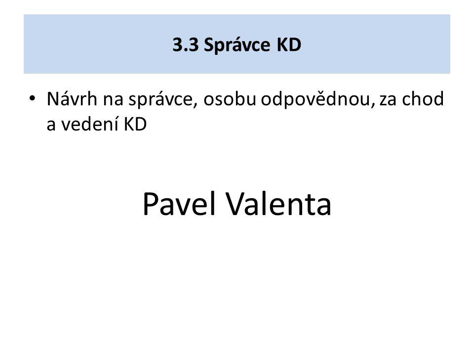 3.3 Správce KD Návrh na správce, osobu odpovědnou, za chod a vedení KD Pavel Valenta