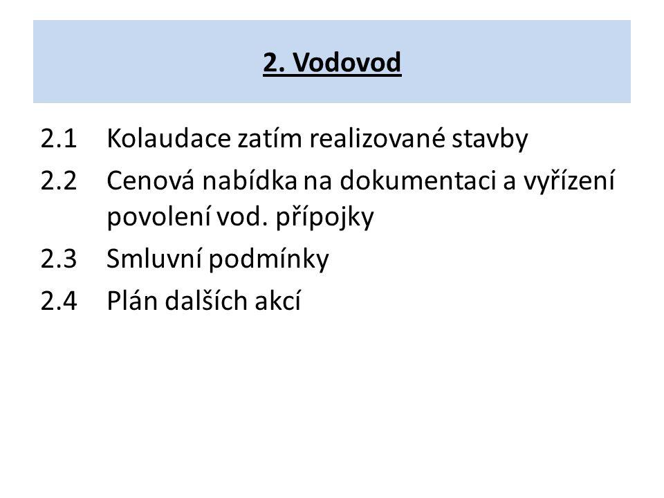 2. Vodovod 2.1Kolaudace zatím realizované stavby 2.2Cenová nabídka na dokumentaci a vyřízení povolení vod. přípojky 2.3 Smluvní podmínky 2.4Plán další