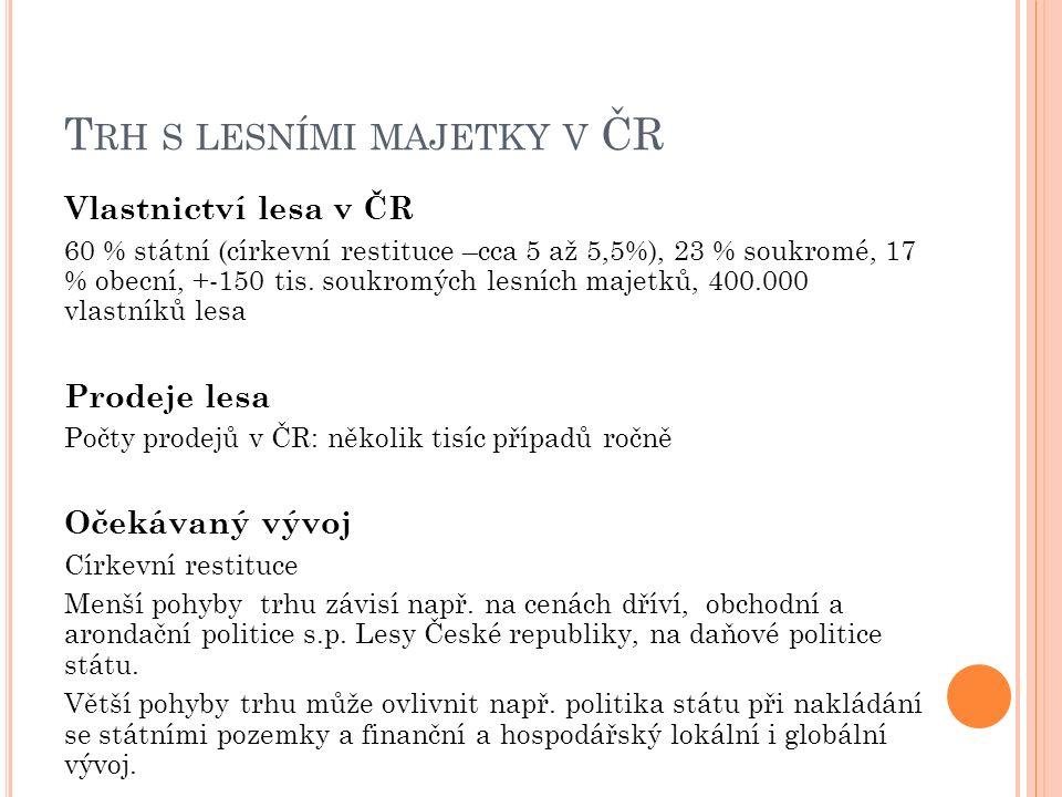 T RH S LESNÍMI MAJETKY V ČR Vlastnictví lesa v ČR 60 % státní (církevní restituce –cca 5 až 5,5%), 23 % soukromé, 17 % obecní, +-150 tis. soukromých l