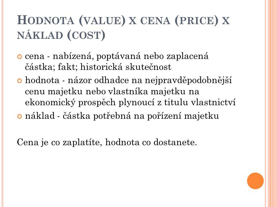 H ODNOTA ( VALUE ) X CENA ( PRICE ) X NÁKLAD ( COST ) cena - nabízená, poptávaná nebo zaplacená částka; fakt; historická skutečnost hodnota - názor od