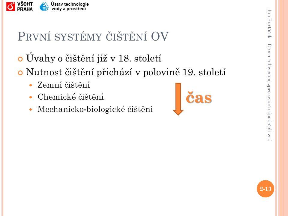 Jan Bartáček – Decentralizované zpracování odpadních vod Ústav technologie vody a prostředí P RVNÍ SYSTÉMY ČIŠTĚNÍ OV Úvahy o čištění již v 18.