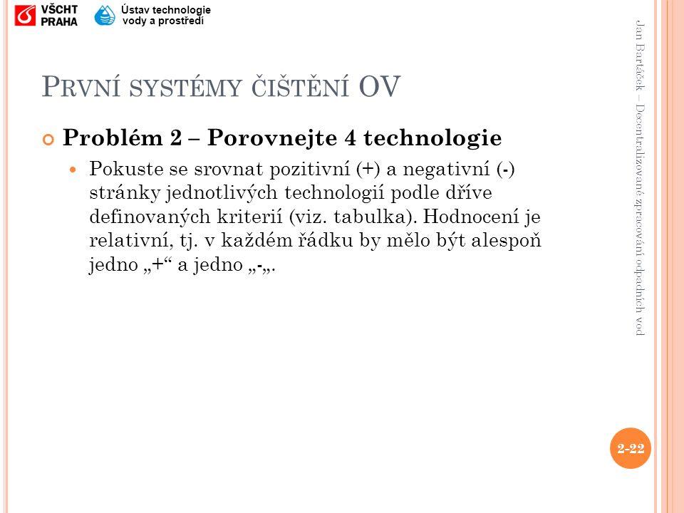 Jan Bartáček – Decentralizované zpracování odpadních vod Ústav technologie vody a prostředí P RVNÍ SYSTÉMY ČIŠTĚNÍ OV 2-22 Problém 2 – Porovnejte 4 technologie Pokuste se srovnat pozitivní (+) a negativní (-) stránky jednotlivých technologií podle dříve definovaných kriterií (viz.