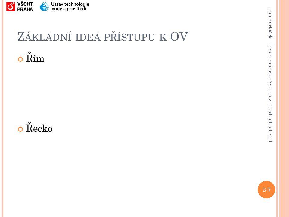 Jan Bartáček – Decentralizované zpracování odpadních vod Ústav technologie vody a prostředí Z ÁKLADNÍ IDEA PŘÍSTUPU K OV Řím Řecko 1-7 2