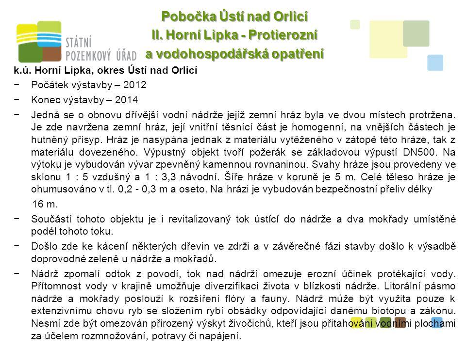 7 Pobočka Ústí nad Orlicí II. Horní Lipka - Protierozní a vodohospodářská opatření k.ú.