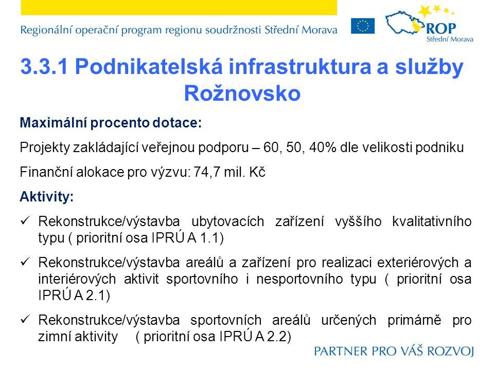 3.3.1 Podnikatelská infrastruktura a služby Rožnovsko Maximální procento dotace: Projekty zakládající veřejnou podporu – 60, 50, 40% dle velikosti podniku Finanční alokace pro výzvu: 74,7 mil.