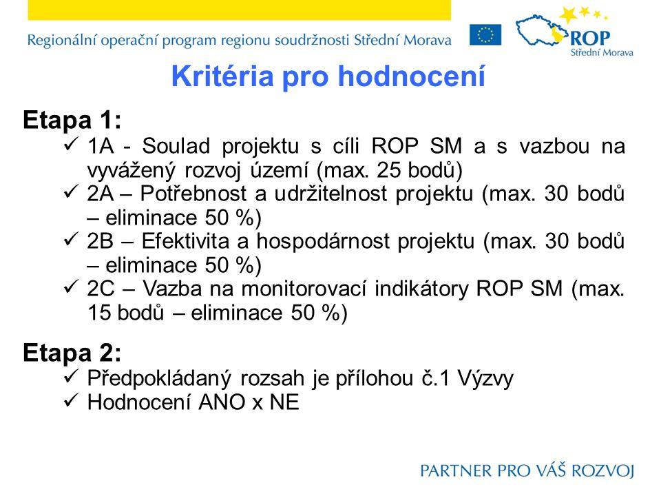 Etapa 1: 1A - Soulad projektu s cíli ROP SM a s vazbou na vyvážený rozvoj území (max.