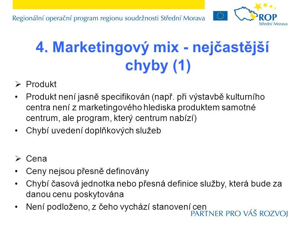 4. Marketingový mix - nejčastější chyby (1)  Produkt Produkt není jasně specifikován (např.