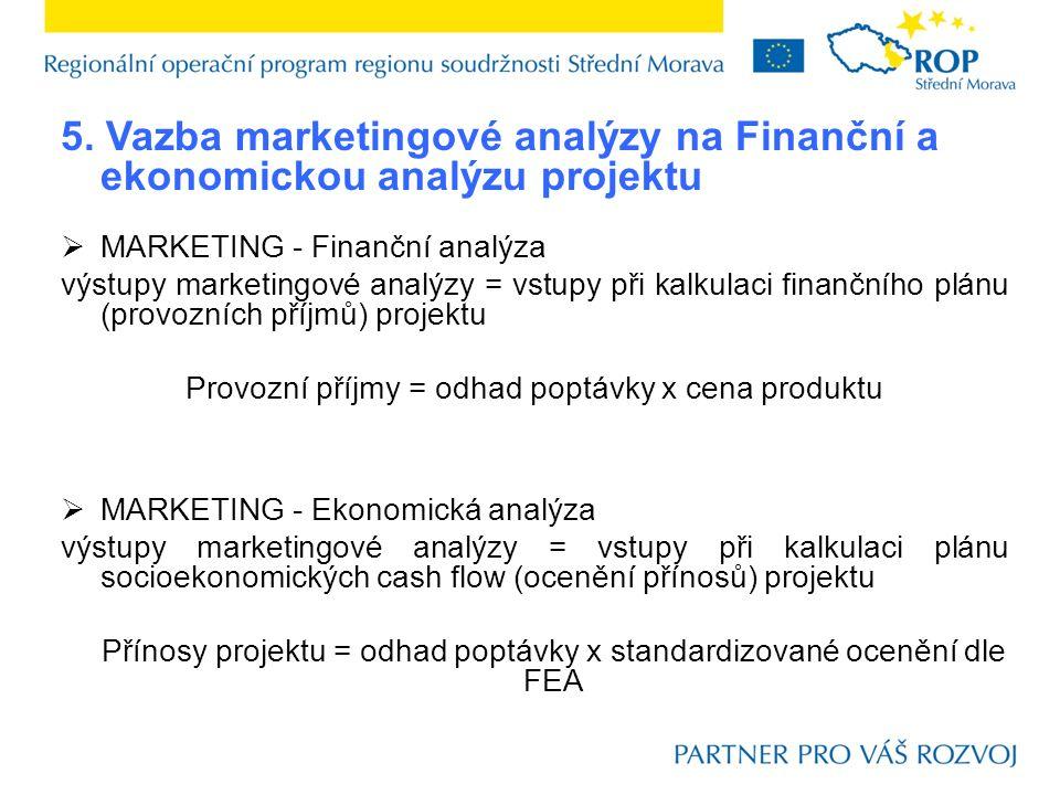 5. Vazba marketingové analýzy na Finanční a ekonomickou analýzu projektu  MARKETING - Finanční analýza výstupy marketingové analýzy = vstupy při kalk