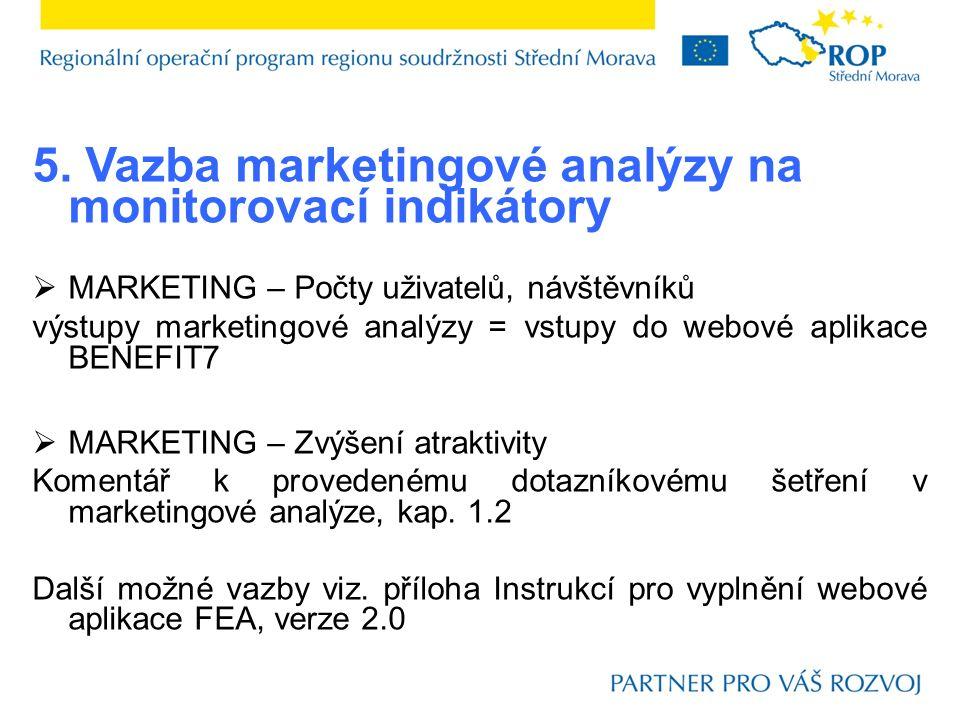 5. Vazba marketingové analýzy na monitorovací indikátory  MARKETING – Počty uživatelů, návštěvníků výstupy marketingové analýzy = vstupy do webové ap