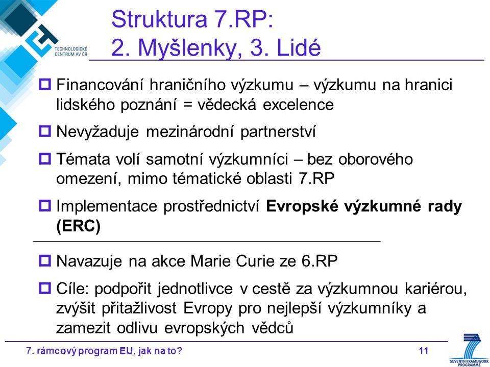 117. rámcový program EU, jak na to? Struktura 7.RP: 2. Myšlenky, 3. Lidé  Financování hraničního výzkumu – výzkumu na hranici lidského poznání = věde