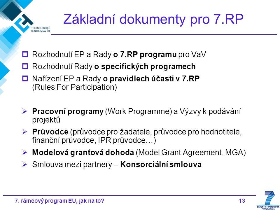 137. rámcový program EU, jak na to? Základní dokumenty pro 7.RP  Rozhodnutí EP a Rady o 7.RP programu pro VaV  Rozhodnutí Rady o specifických progra