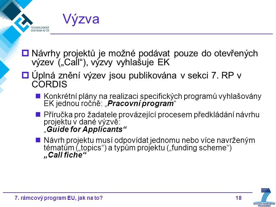 """187. rámcový program EU, jak na to? Výzva  Návrhy projektů je možné podávat pouze do otevřených výzev (""""Call""""), výzvy vyhlašuje EK  Úplná znění výze"""