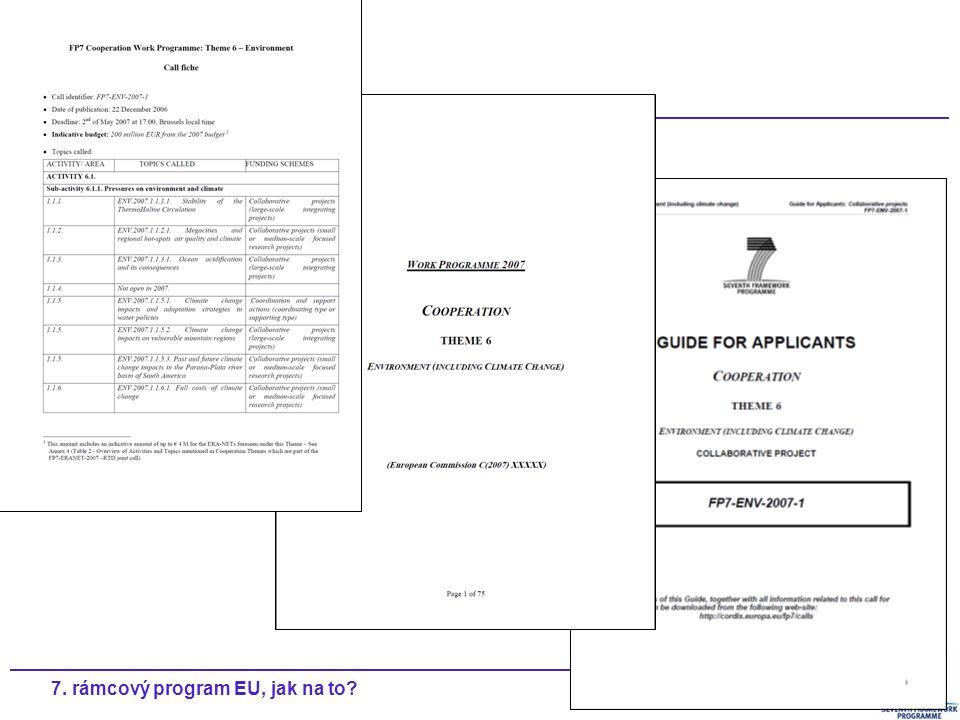 207. rámcový program EU, jak na to