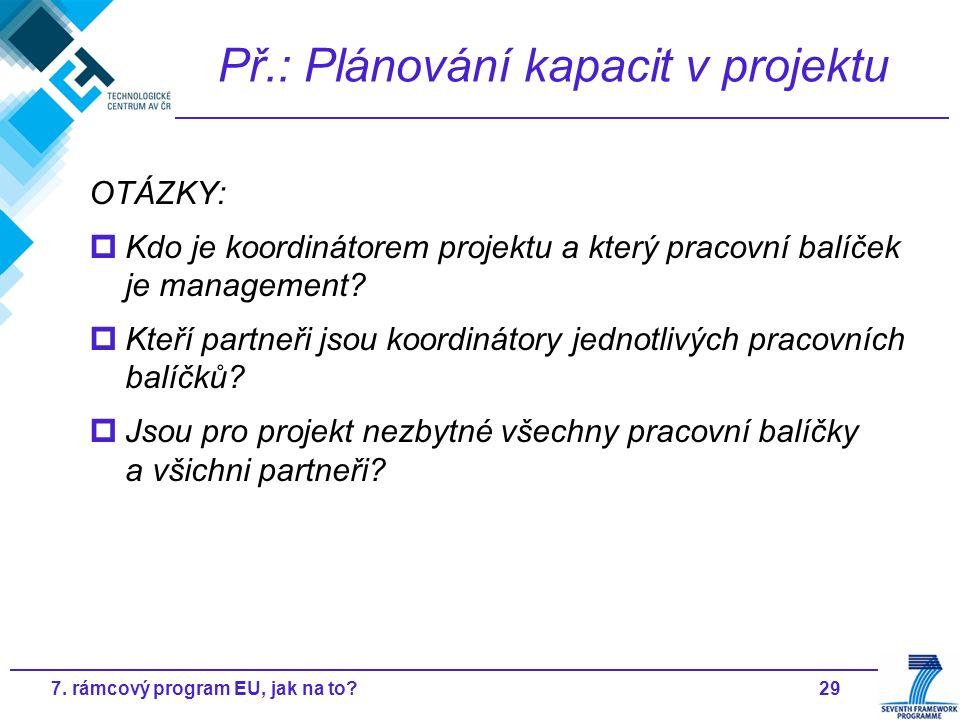297. rámcový program EU, jak na to? Př.: Plánování kapacit v projektu OTÁZKY:  Kdo je koordinátorem projektu a který pracovní balíček je management?