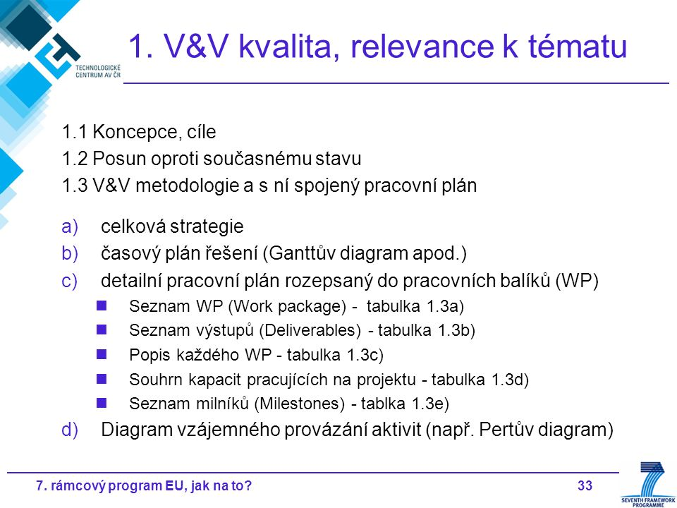 337. rámcový program EU, jak na to? 1. V&V kvalita, relevance k tématu 1.1 Koncepce, cíle 1.2 Posun oproti současnému stavu 1.3 V&V metodologie a s ní