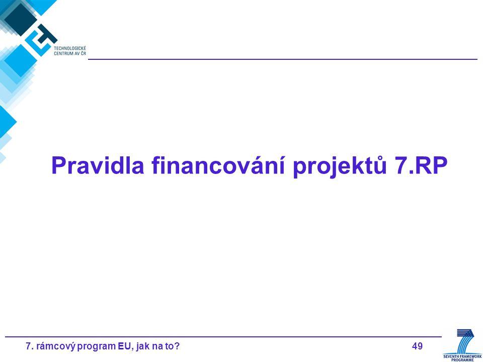 497. rámcový program EU, jak na to? Pravidla financování projektů 7.RP